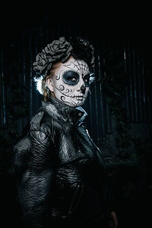 halloween dark gothic scary makeup. Santa Muerte concept. Stock Photo - 136809240