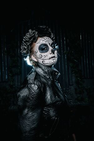 halloween dark gothic scary makeup. Santa Muerte concept. Stock Photo - 136809242