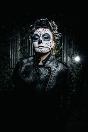 halloween dark gothic scary makeup. Santa Muerte concept. Stock Photo - 136809243
