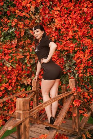 beautiful girl in a black corset and lace tights sits on the bridge in the autumn Park among the orange leaves