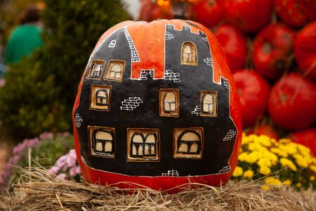 pumpkins in honor of the celebration of autumn and Halloween. festival of vegetables, creative house of pumpkin.