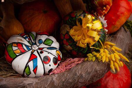 beautiful painted autumn pumpkins at Halloween fair with nobody.