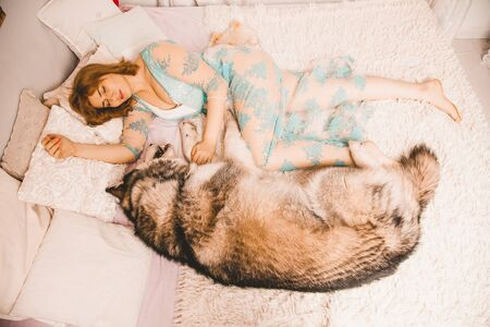 charming plus size girl with red hair in a nightgown posing with her large dog, a Malamute best friend in white bed in the bedroom Zdjęcie Seryjne - 133819608