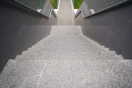 modern grey stone staircase in the city with nobody