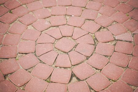stone pavement in perspective with nobody. old streets in summer