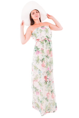 peers: A woman in a dress on a white background