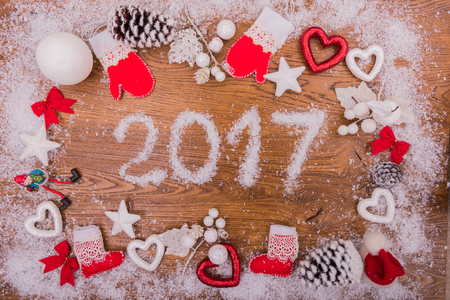 turn of the year: 2017 New Year speech on the board Stock Photo