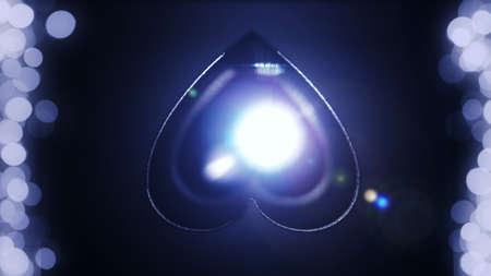 Glowing word love. Neon lighting effect. Blurred background.