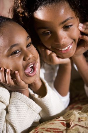 Twee gelukkige gezichten van Amerikaans zusters side by side