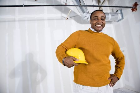 African American man in commercial office space ready for buildout Stock Photo - 6375415