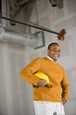 African American man in commercial office space ready for buildout Stock Photo - 6375453