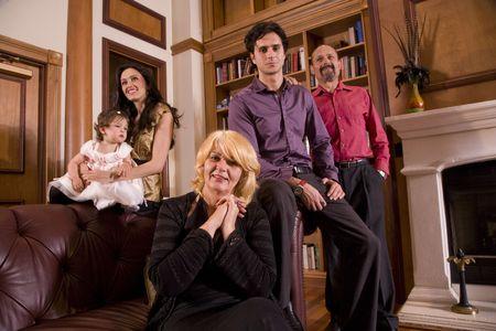 three generations of women: Portrait of multi-generation Bosnian family at home Stock Photo