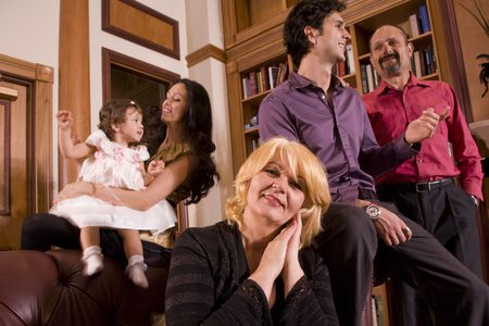 Portrait of multi-generation Bosnian family at home photo
