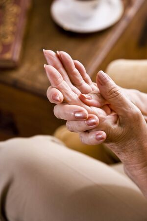 Close-up of elderly womans hands Stock Photo
