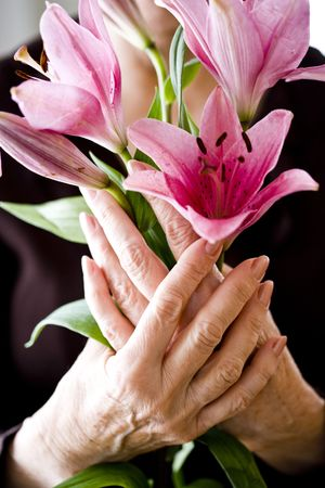 holding close: Close-up of pink flowers held by senior woman in her 70s