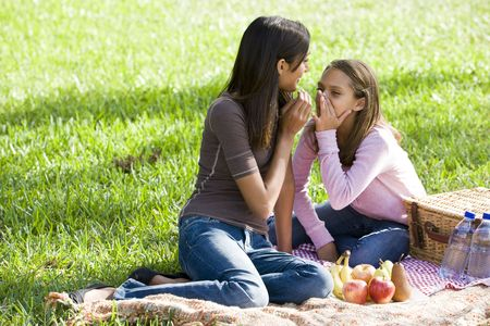 Ten year old girl whispering to teenage sister while enjoying picnic in the park photo
