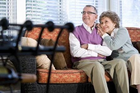 Happy senior couple sitting together on couch in living room Stock Photo - 7181869
