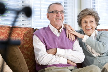 Happy senior couple sitting together on couch in living room Stock Photo - 7181859