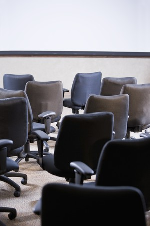 Room full of empty office chairs, rear view Stock Photo - 7159184
