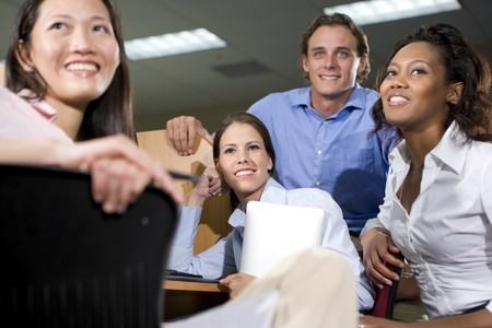 diverse people: Multiethnic group of college students studying together Stock Photo