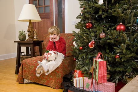 Excited little 4 year old boy with present by Christmas tree Stock Photo - 7635165