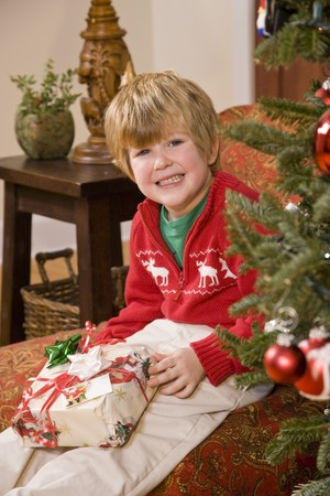 Excited little 4 year old boy with present by Christmas tree Stock Photo - 7634937