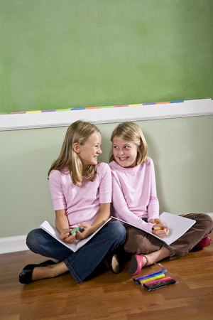 home schooling: Back to school - two 8 year old girls doing homework together