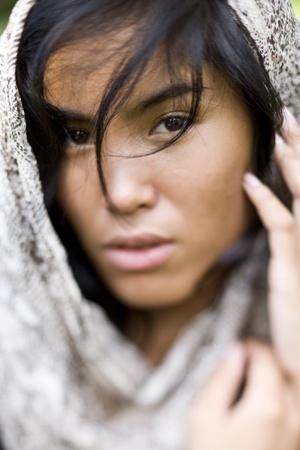 아름 다운 여자, 20 년, 태평양 제도인의 얼굴. 얕은 DOF, 눈에 초점