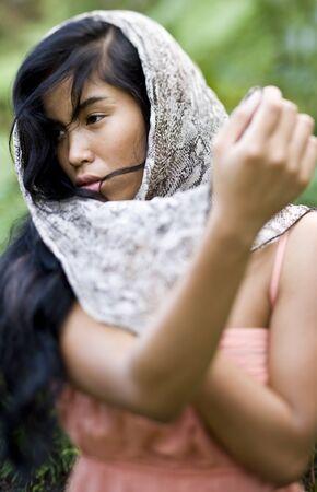 아름 다운 여자, 20 년, 태평양 제도입니다. 얕은 DOF, 눈에 초점