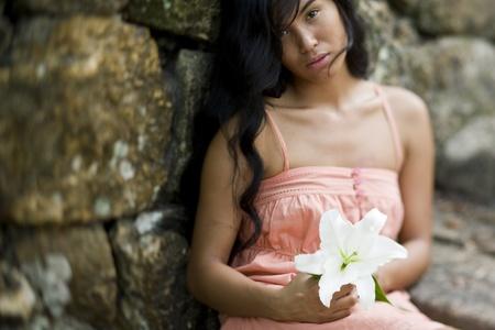 아름 다운 여자, 태평양 제도 민족의 20 년. 얕은 DOF. 스톡 콘텐츠