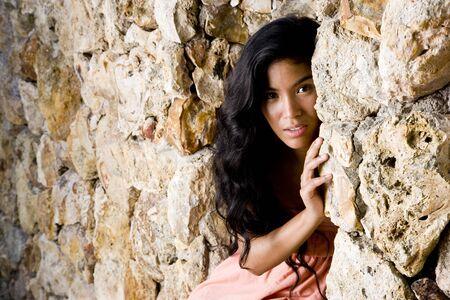태평양 제도 민족의 아름다운 여인, 20 년 스톡 콘텐츠