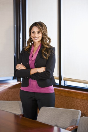indian ethnicity: Businesswoman, 30s, Indian ethnicity, standing in office boardroom