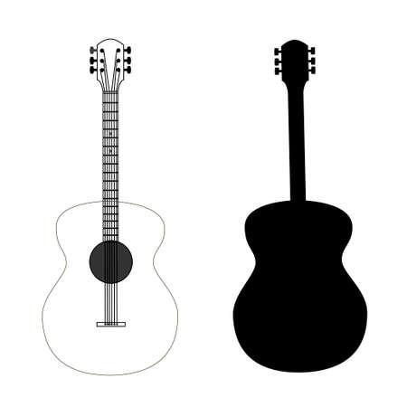 gitara: gitara wyizolowanych na czarnym wektorem, edytowalne Ilustracja