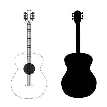 guitarra: guitarra aislado en vector negro, editable Vectores