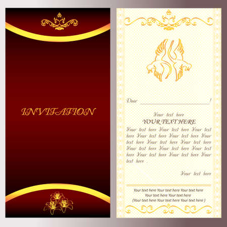 golden invitation for holiday card with text vector, easy to edit, magic flower, magic bird Ilustrace