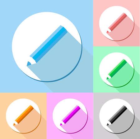 eraser mark: pencil drop shadow icon vector, flat pencil icon vector, blue, red, orange, green, yellow, black Illustration