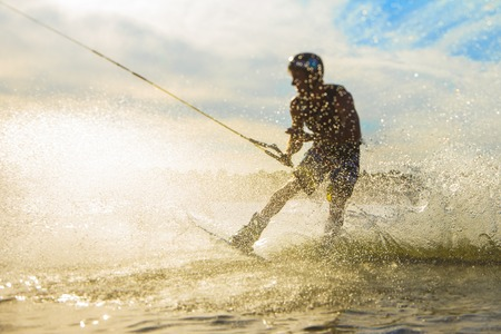 wakeboarder trains on the lake in Belarus