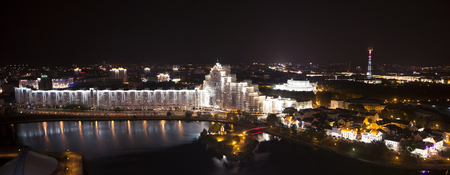 svisloch: Night city panorama Minsk from above. Long exposure