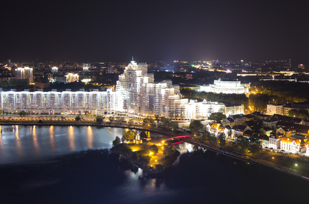 svisloch: Night Minsk from above. River svisloch long exposure Stock Photo