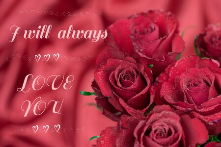 red background and red roses and text
