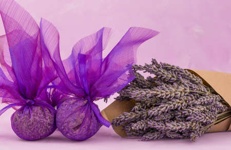 home made a bag of fragrant lavender flower and oil