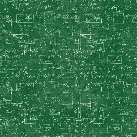 Seamless pattern of mathematical operation and equation, endless arithmetic pattern on seamless green chalk boards. Handwritten calculations. Geometry, math, physics, electronic engineering subjects.