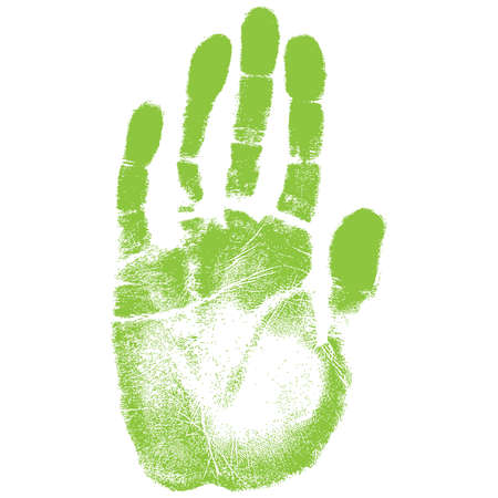 adobe: Vector illustration old man green hand print isolated on white background. Created in Adobe Illustrator. Image contains gradients. EPS 10.