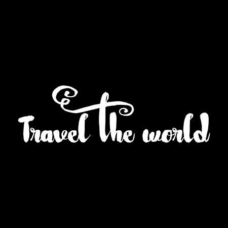 quest: Travel the world Hand drawn lettering. Motivating modern adventure calligraphy. Inspiring hand lettered quote for wall poster or mood board. Home decoration printable phrase for quest person. Illustration