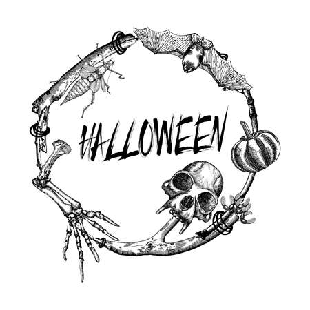 Halloween sign and poster. Halloween decoration in twig frame. Hand drawing witchcraft attributes, monkey skull, demon, evil, monster skeleton hand, pumpkin, beetle, bug, bat. Magic background.