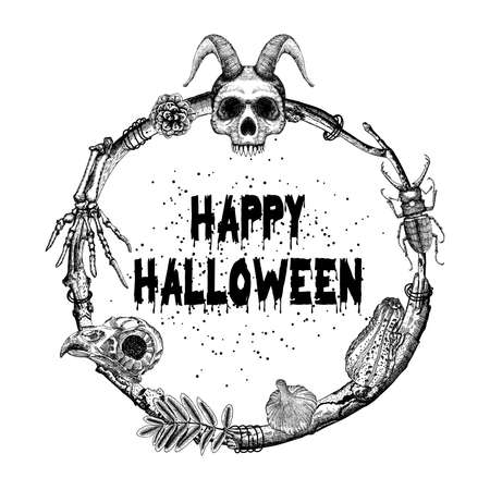 skeleton hand: Happy Halloween sign and poster. Halloween decoration in twig frame. Hand drawing witchcraft attributes, human skull, demon, evil, monster skeleton hand, bird skull, garlic, pumpkin, pinecone, beetle.