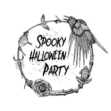 Spooky halloween party sign and poster. Halloween decoration in the circle twig frame. Hand drawing of frog, crow, scorpion, black rose, moth, deaths-head hawkmoth, garlic.  Witchcraft attributes. Illustration