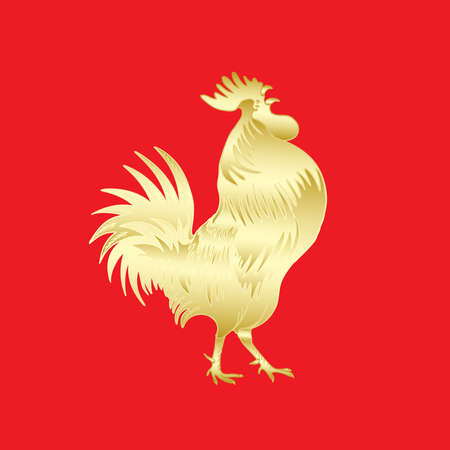 chinese astrology: Chinese 2017 new year of the Rooster symbol. Gold metallic rooster on red background is looking at right. Hand drawing doodle with gradients. Chinese calendar Zodiac. Rooster golden silhouette.