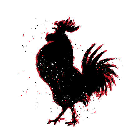 Chinese 2017 new year of the Rooster symbol. Red and black paint color brush roosters silhouette. Imitation of hand drawing or painting of rooster with Chinese calligraphy Inksticks or India ink. Illustration