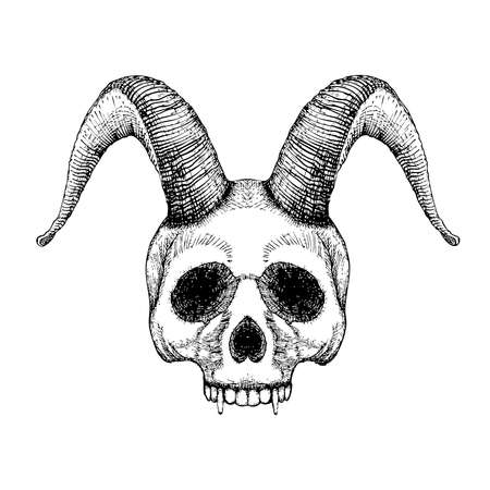 witchcraft: Grunge style art of human skull with goat horns. Print design. Demon Head. A demon,  supernatural, malevolent. Witchcraft, black magic, occultism, mythology and folklore, religion attribute. Vector.